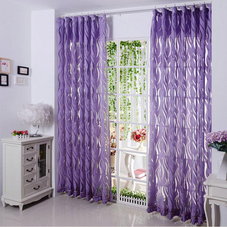 New arrival Sheer Curtains Luxury Stripe / Tulle / Volie /Organza Curtains Violet/Coffee/Wine Red purple Window Trimming