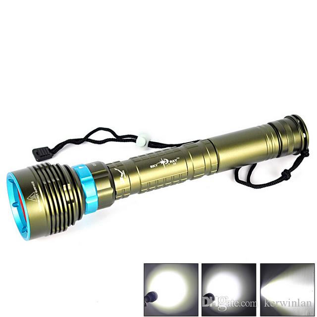 Diving Flashlight Skyray DX7 LED 7 x CREE XM-L2 14000LM 150m Underwater Scuba Diver Lanterna Torch + 3x26650 batteries + Charger DHL Free
