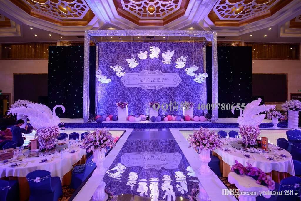 Hot Sale wedding carpet Center pieces Mirror Aisle Runner Gold Silver Double Side Design T Station Decoration Wedding
