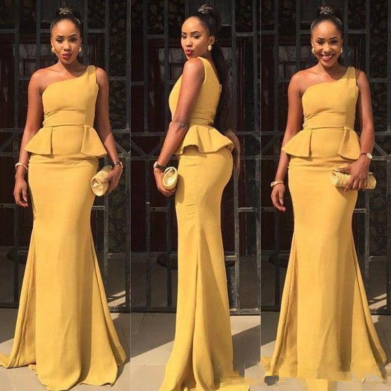 Черные девушки одно плечо платья выпускного вечера 2017 Асо Эби стиль желтый атлас баски русалка африканские вечерние платья вечернее платье