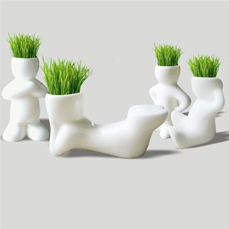 1 pezzo creativo fai da te mini capelli uomo pianta bonsai erba bambola ufficio fantastico home decor pot + semi mini pianta regalo