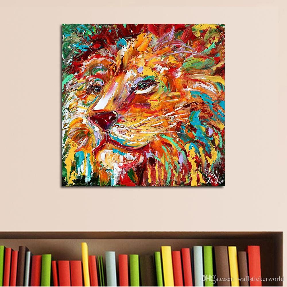 1 Pcs The Colorful Lion King Painting Wall Art Home Decor Modern Canvas Print No Frame For Living Room Picture