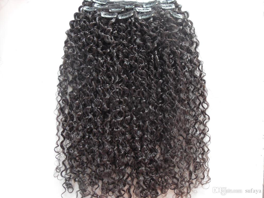 헤어 익스텐션 처리되지 않은 곱슬 자연 검정색 인간의 확장 몽골 인간 버진 제리 곱슬 머리 씨실 클립 염색 할 수있다