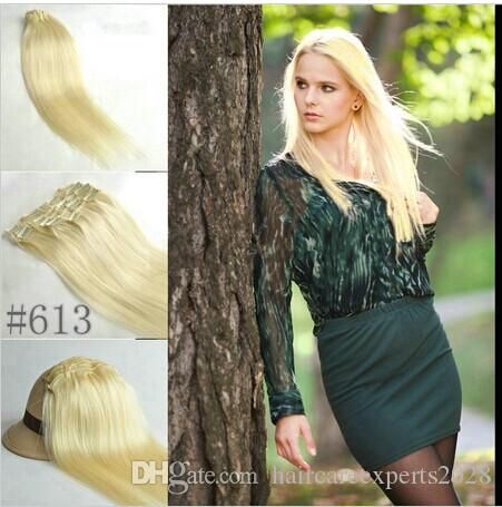 """5A 10pcs/set 160g/set 18""""-26"""" #613 light blonde real human hair/brazilian hair clips in extensions real straight full head dhl free"""
