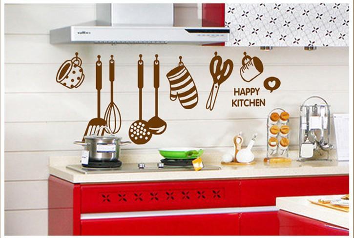 Happy Kitchen Wall Quote Art Decal Sticker Home Wallpaper Decoration Mural Poster Decor Kitchen Room Wall Decor Sticker