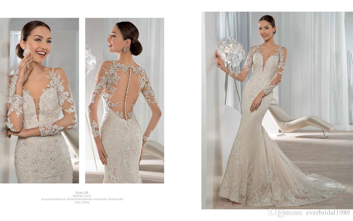 Exquisite Long Sleeve Mermaid Wedding Dresses 2015 Lace Applique ...