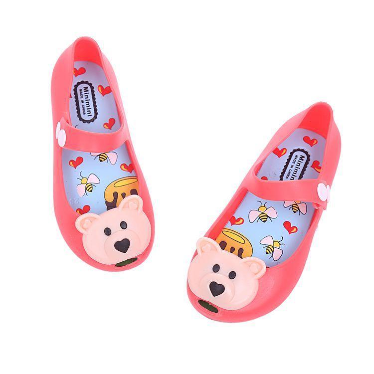 Letni styl Dzieci Gril Buty Sandały PCV Cartoon Bear Mini Melissa Hasp Plastic Buty Kids Buty