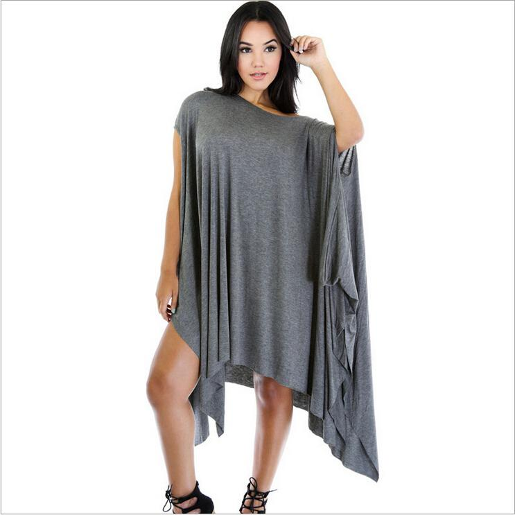 2016 Women Fashion Dresses Europe Style Oblique Neck Ruffle Batwing Sleeve Asymmetrical Draped Loose Sexy Mini Clubwear Dresses for Womens
