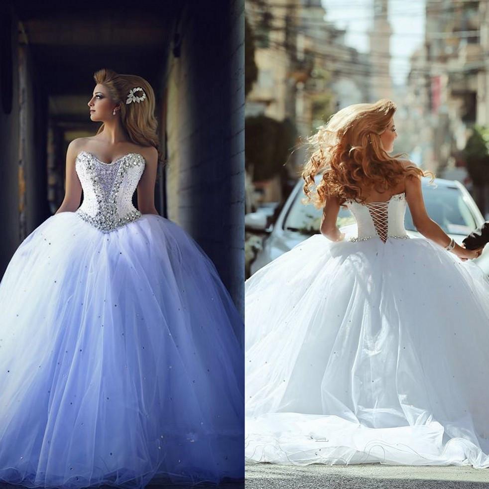 Роскошный стиль Принцесса Свадебные платья 2019 Бальное платье Милая Кристаллы Эристаллы Бусины Туль Корт Поезд Свадебные платья Кружевые Назад На заказ W965