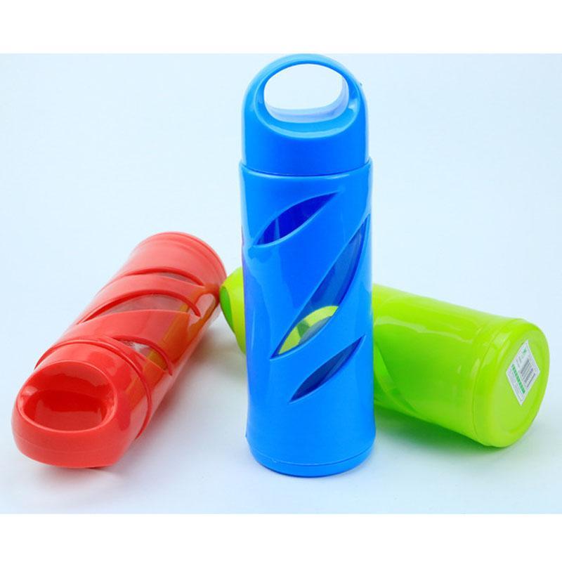Drinkware 크리 에이 티브 휴대용 스포츠 플라스틱 유리 물병 400-500 ml 야외 스포츠에 대 한 Garrafa Termica Infantil 차 물 컵