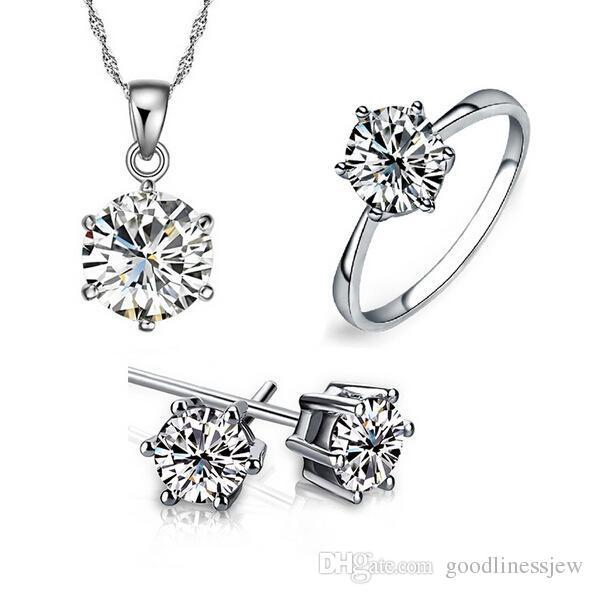 Juego de joyería de dama de honor para los conjuntos de joyas de oro de la boda Al igual que 925 cadenas de plata colgante de collar del pendiente de las mujeres del partido de los anillos de piedras preciosas Para