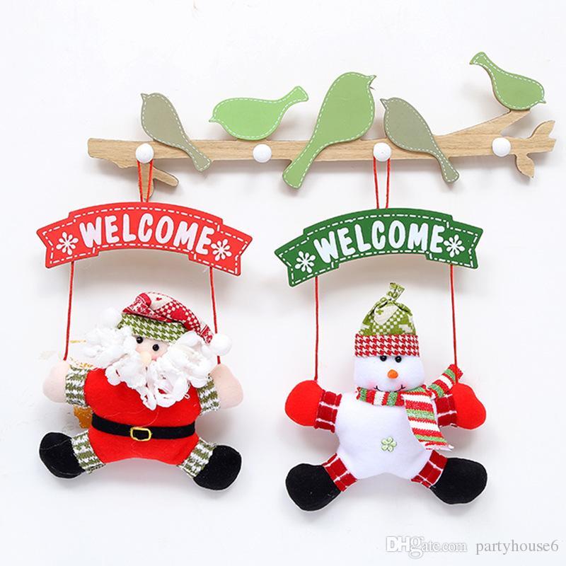 Weihnachtsdekorationen Außenhandel kreative Puppe Tür hängende Weihnachtsgewebe Platte ältere Anhänger Weihnachtsschmuck kostenloser Versand
