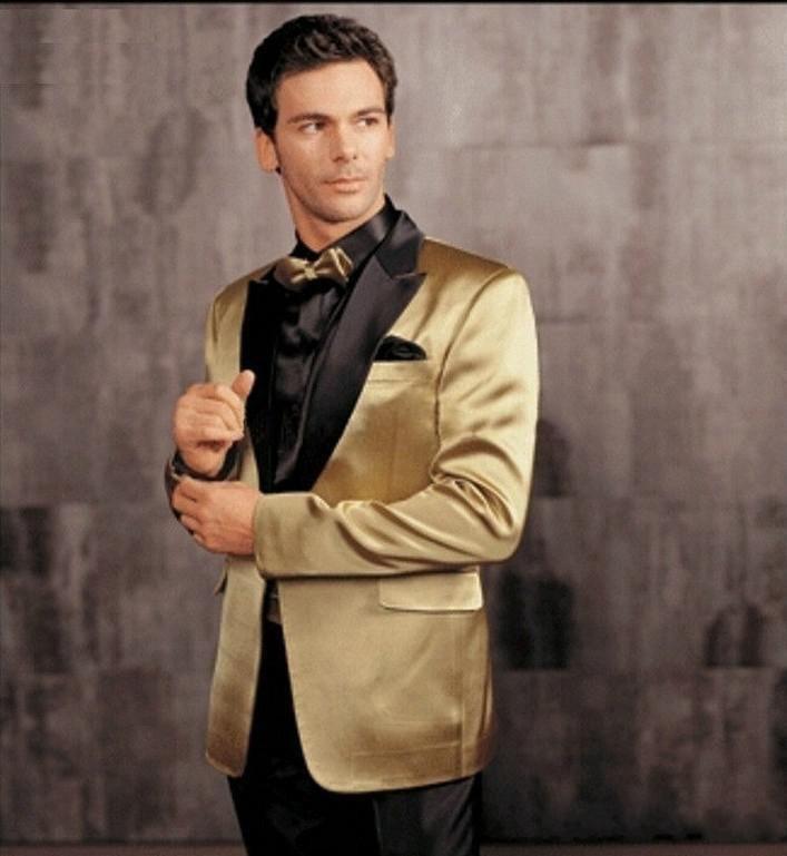 Gold Jacke mit schwarzen Revers Bräutigam Smoking Groomsmen Blazer Hochzeit Kleidung Abendkleid Anzüge (Jacke + Pants + Gürtel + Fliege) AA869