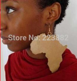 Free shipping 2014 Hot Sale Good Wood Africa Map Earring for Women can acceptable mixed color order