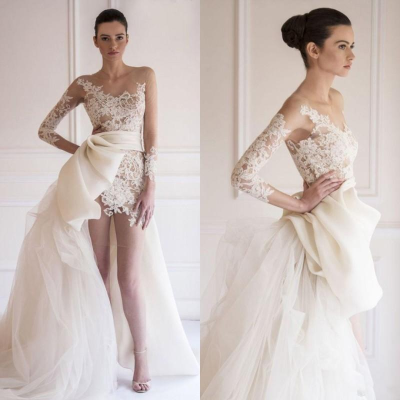 2017 Stunning Maison Yeya Beach Wedding Dresses Sheer Bateau Illusion Long Sleeve Lace/Tulle Bridal Gowns High-low Wedding Dress Big Bow
