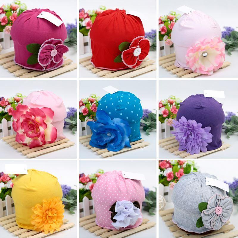Hot Cute Baby Beanie Hats Para Niñas Hermosa Encantadora Flor Soft Cotton Baby Hats Niñas Primavera Otoño Sombreros Niños Cap