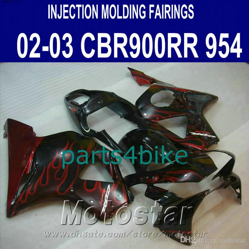 Injection molding fairing kit for Honda CBR900 RR fairings 954 02 03 CBR 954RR bodywork CBR900RR 2002 2003 red flames black fairings YR95
