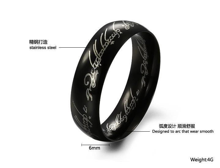 fashion jewelry movie mens finger rings the one ring titanium stainless steel black ring 6mm bague - The One Ring Wedding Band