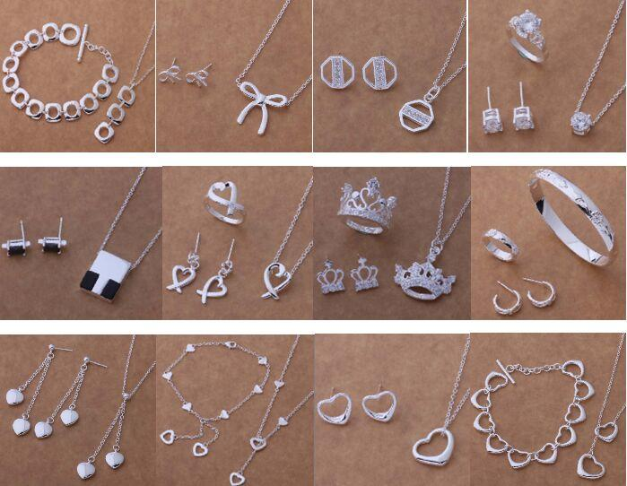 Free Shipping with tracking number New Fashion women's charming jewelry 925 silver 12 mix jewelry set 1452
