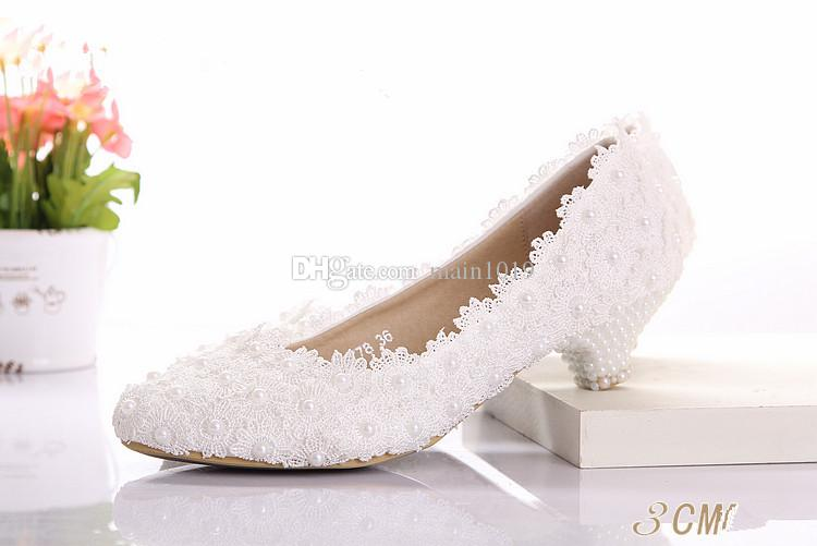 cheap beautiful white lace wedding shoes low heel diamond bride