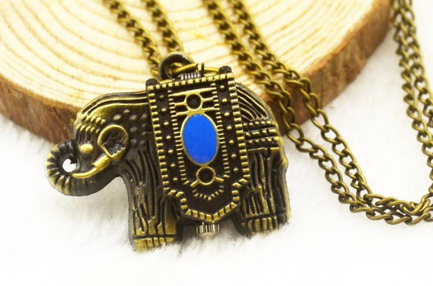 새로운 패션 석영 청동 합금 애니메이션 만화 코끼리 어린이 펜던트 최고의 친구 선물 목걸이 체인 시계