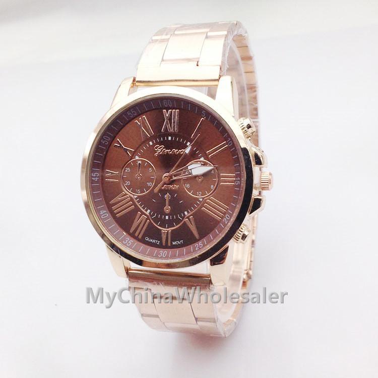 고품질 뉴 제네바 베스트 셀러 시계 석영 Relogio 로마 숫자 골드 밴드 아날로그 손목 시계와 다채로운 시계 다이얼