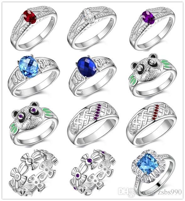 Красивый дизайн стерлингового серебра 925 палец кольцо Кристалл мода ювелирные изделия рождественские подарки для женщин заказ смешивания бесплатная доставка 12pcs/много