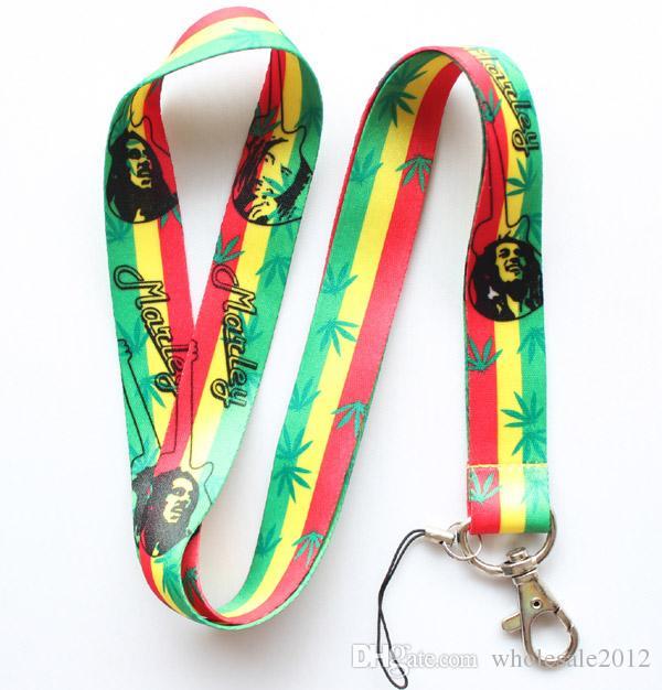VENTA AL POR MAYOR Nuevo Hot 50 unids Bob Marley teléfono móvil LANYARD teléfono celular correa para el cuello llavero cadena de envío gratis