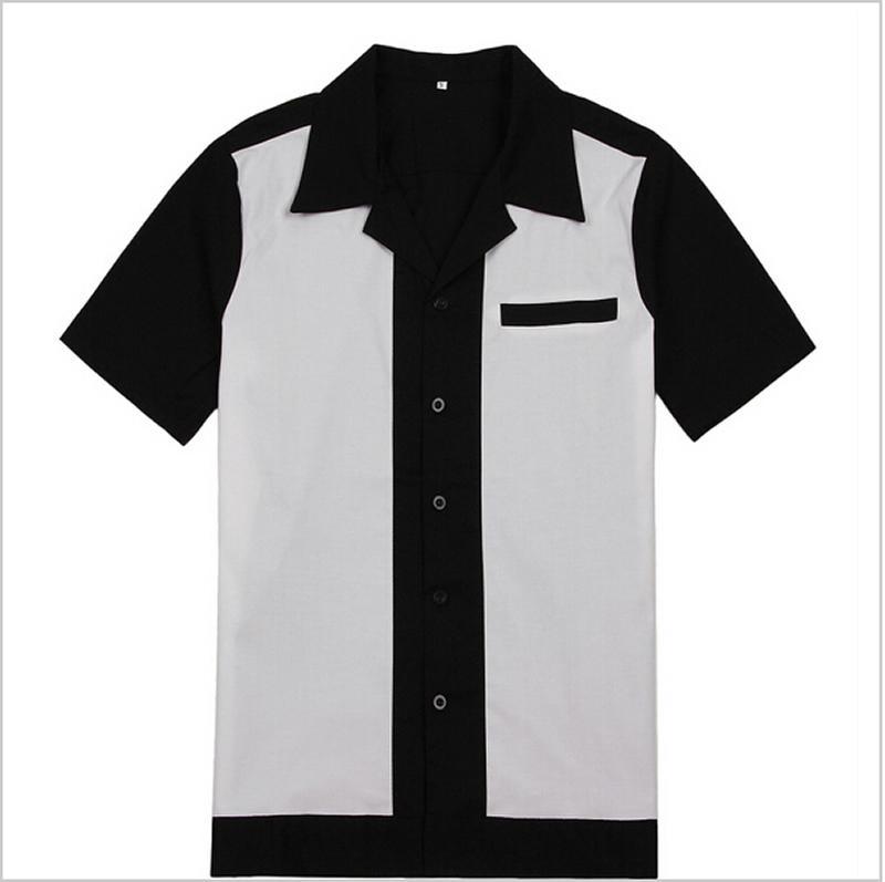 남성 로커 빌리 볼링 셔츠 흑백 50 년대 60 년대 스타일 새로운 디자인면 톱