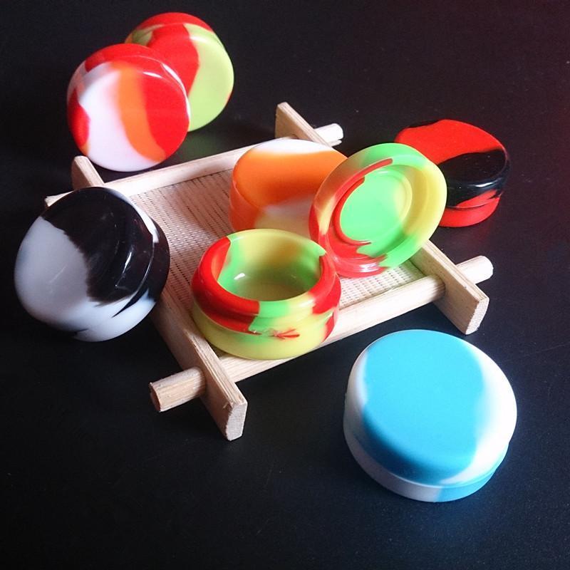 Antiadherente Pequeños Contenedores de Colores Redondos caja de silicona Contenedor de Silicio dabber 32 * 15mm 3 ml de calidad alimentaria tarros de cera dab almacenamiento de goma para vape