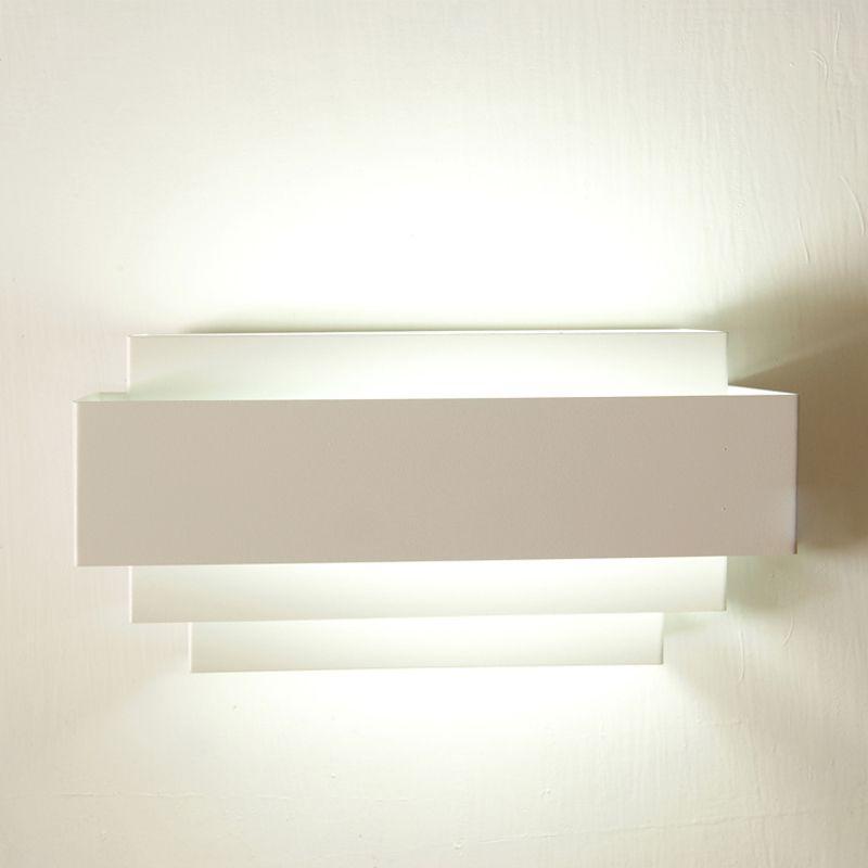 Beyaz Demir Dikdörtgen Duvar Işıkları Modern Basit Yatak Odası Bedsides Oturma Odası Duvar Lambası Koridor Duvar Aplikleri