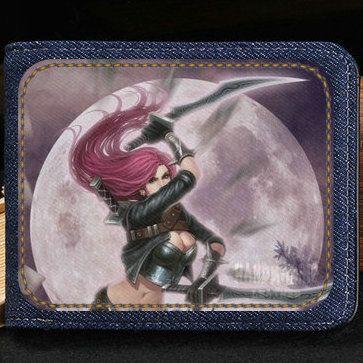 Katarina du couteau cüzdan Legends Ligi Sinister bıçak çanta Lol kısa nakit not vaka Para notecase Deri çanta çanta Kart sahipleri