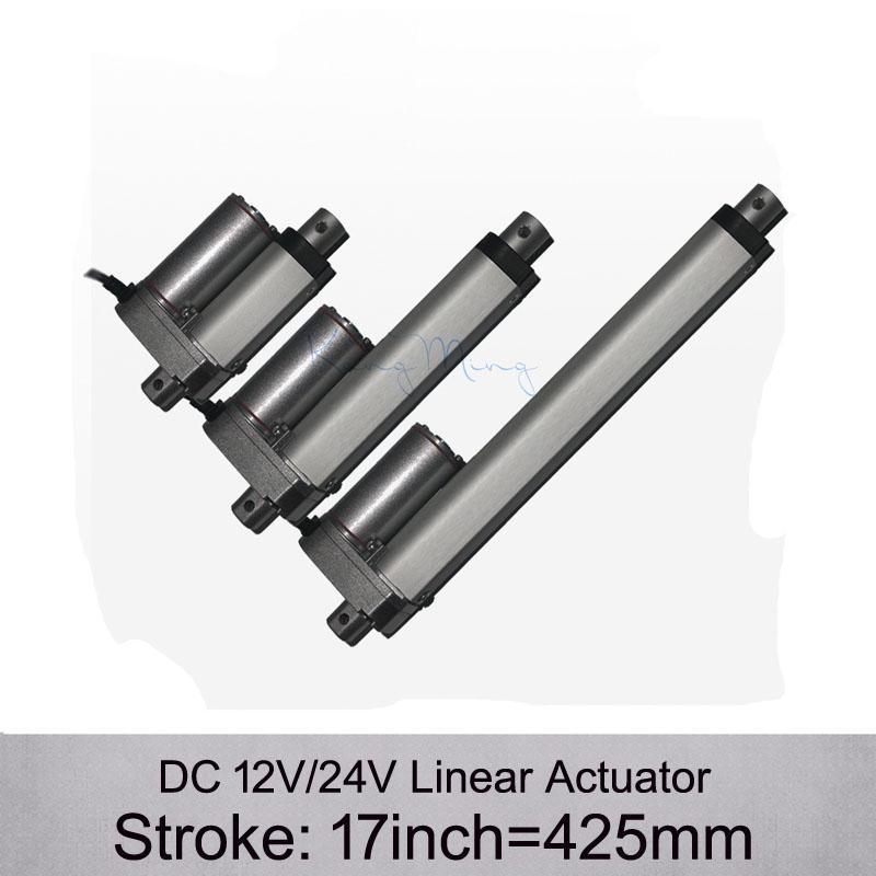 Shpping grátis! Atuador linear elétrico da CC 12V / 24V 17inch / 425mm, carga 1000N / 100kgs atuadores lineares da velocidade 10mm / s sem suportes de montagem