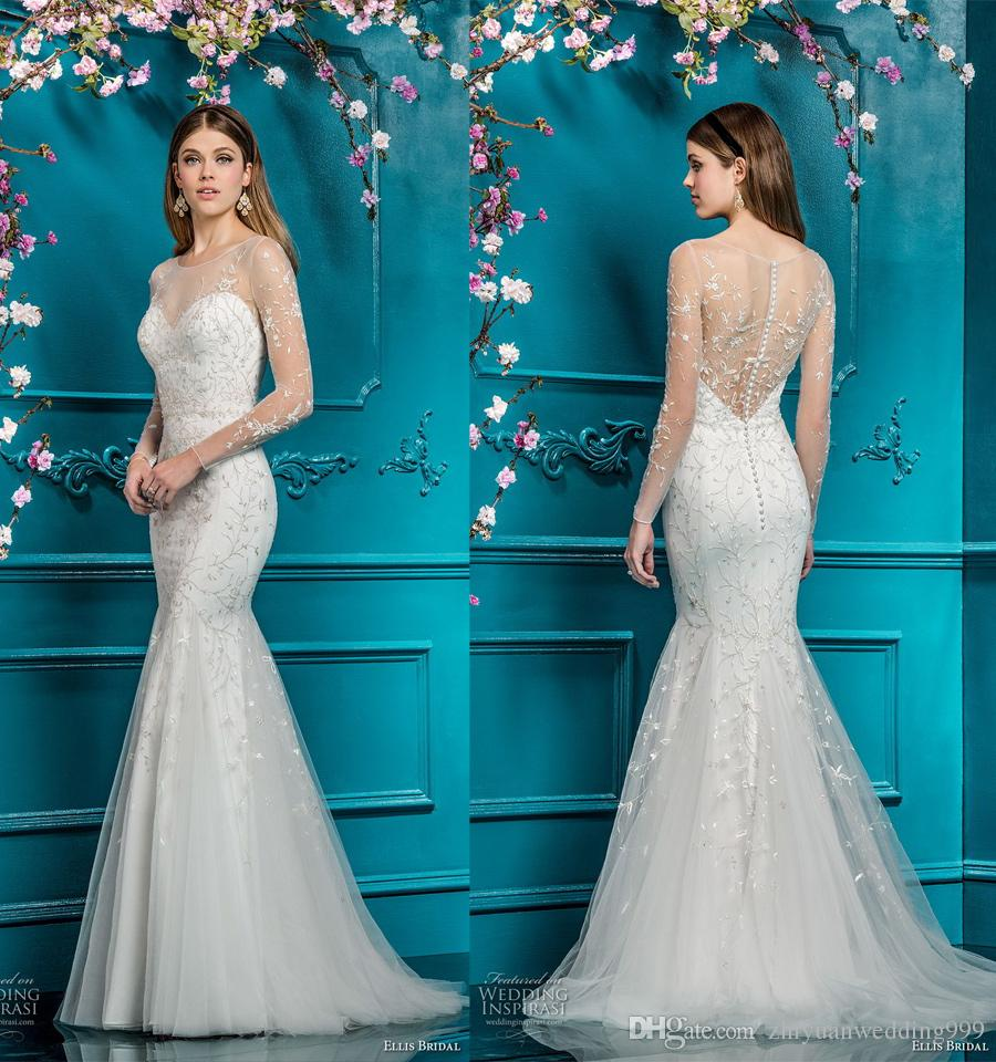 Elegant Mermaid Wedding Dresses 2018 Ellis Bridal Long Sleeves ...