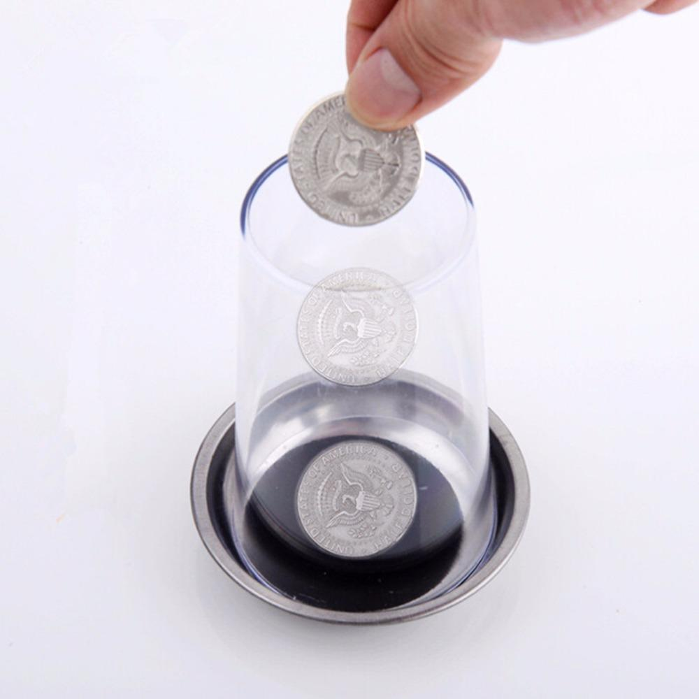 Magic Trick Props Coin Penetrates Into The Cup Tricks The Good Stretch Coins Through The Glass Magical Steel Cup Mat