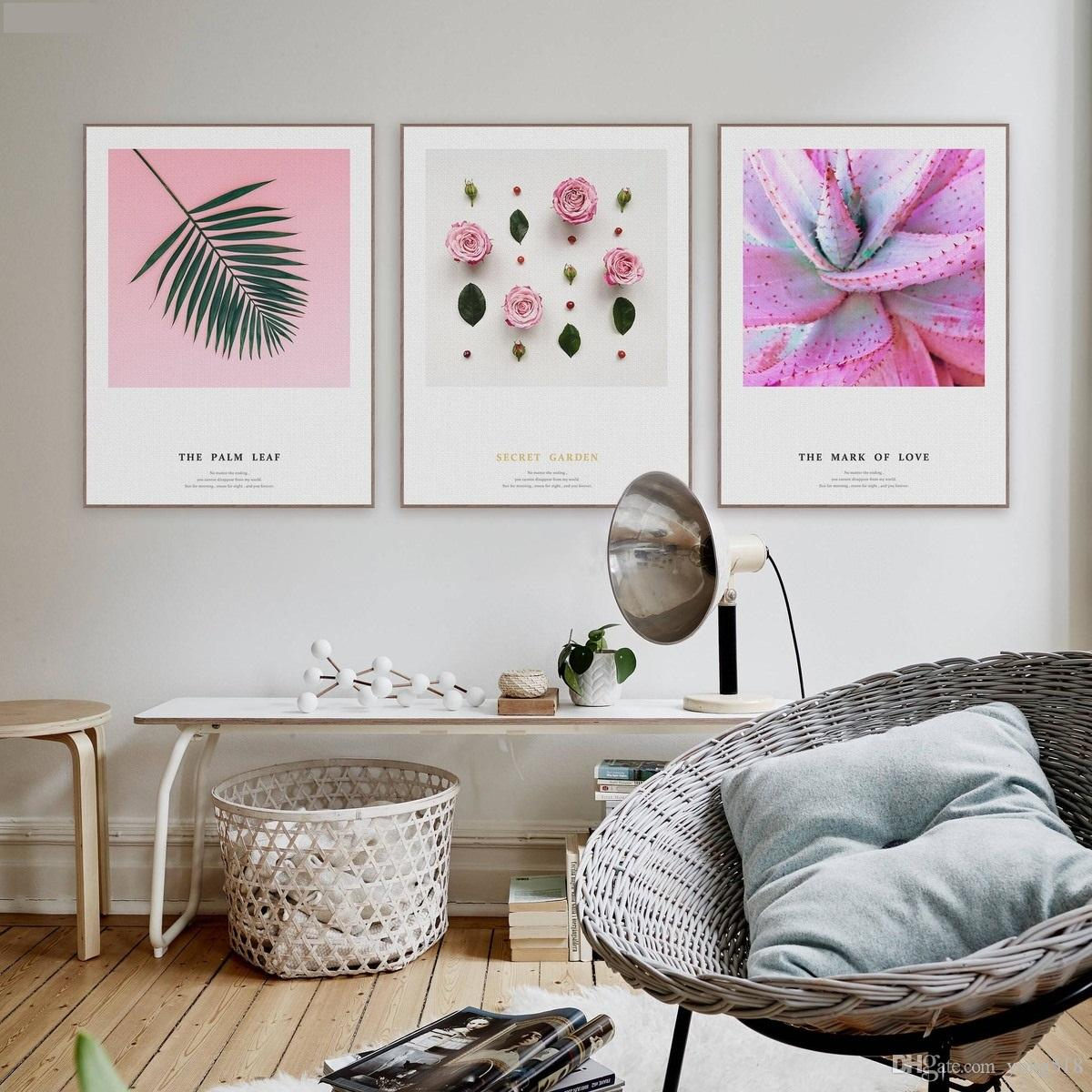 Pink Roses Love Canvas Art Print for Wall Decor and Painting Flower Canvas Art.