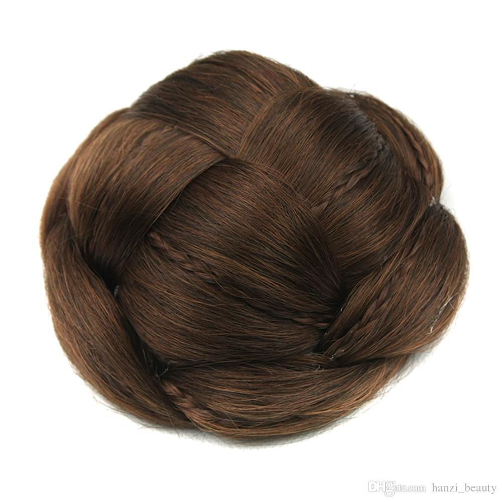 2017 6 Colors Braided Clip In Fake Hair Bun Hair Chignon Fast Bun Donut Roller Hairpieces