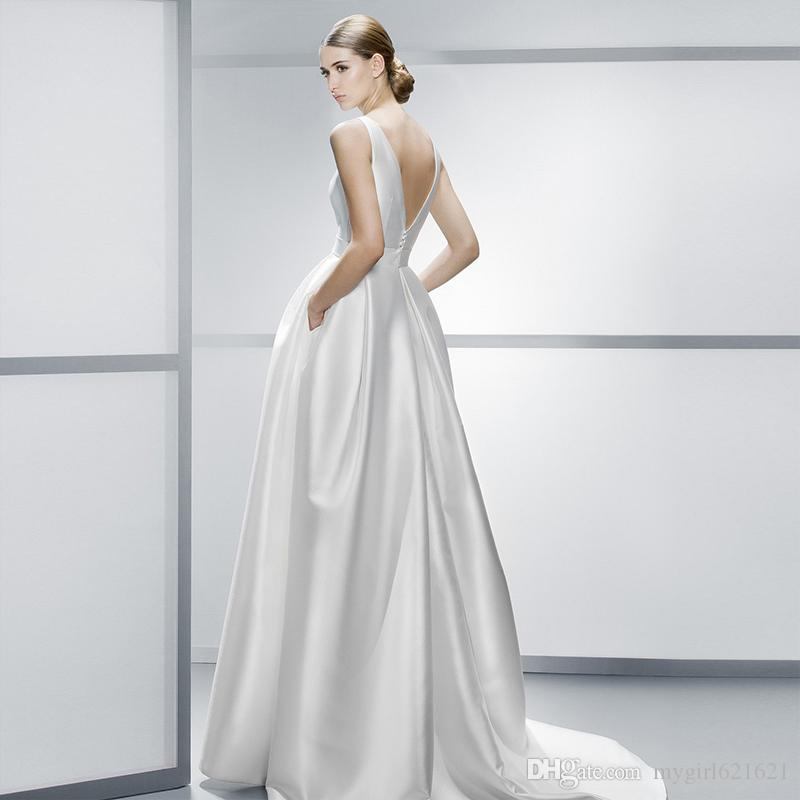 Discount Bateau Neck A Line Wedding Dresses Simple Satin Cheap Wedding Dresses With Pockets Vintage Modern Bridal Gown Wedding Dresses Fitted Wedding