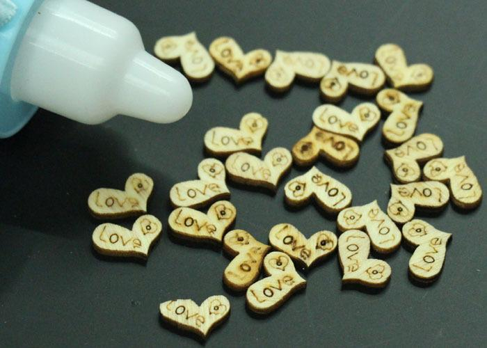 Love Heart Wood Loose Beads Charms Appointment Wed...
