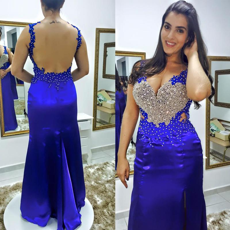 Exquisite Blue Evening Dresses Deep Wide V Neck Backless Long Formal Floor Length Prom Gowns with Beads Appliques Pearls Cut Out Waist Split