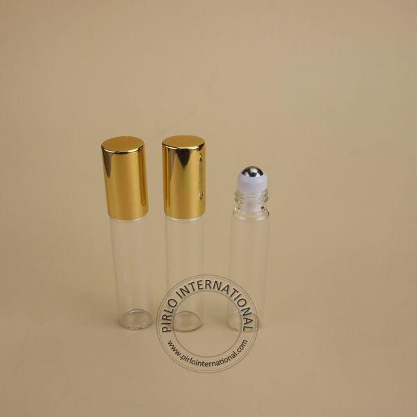 Venta al por mayor 100pcs 5ml rollo en botellas de rodillos para aceite esencial roll-on botella de perfume envases cosméticos tapa de Oro brillante