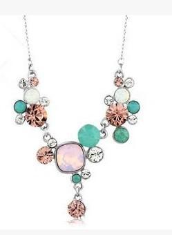 plus collier de dame avec pendentif en cristal couleur pcs fleur