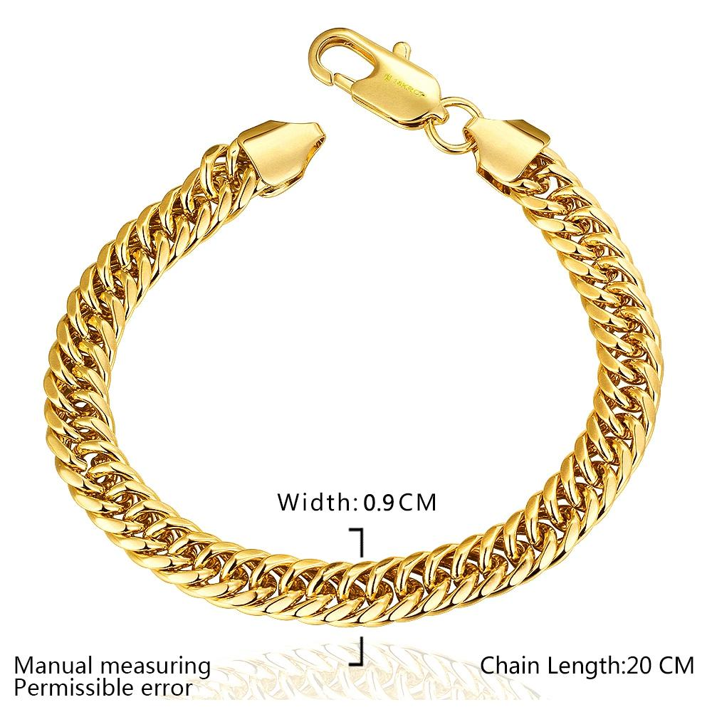 Fashion Men's Bracelets 18k Yellow Gold Plated 9mm Flat Chains Bracelet  Gold Chains Bracelets High Quality