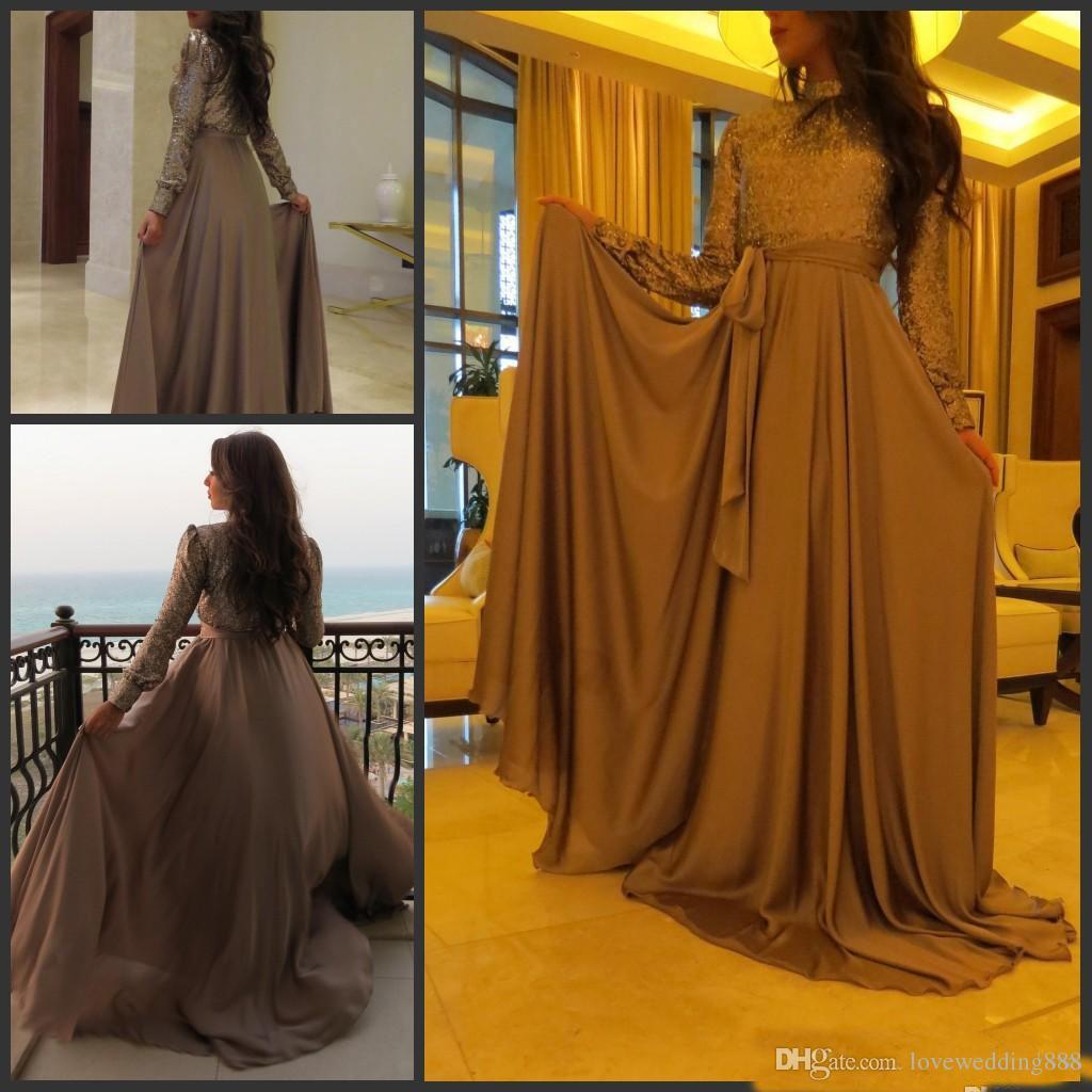 Muslimische Frauen formale Abend-Kleider mit langen Hülsen-hohen Ansatz Sequin Top Chiffon Abendkleid Dubai Arabisch Kaftan 2018