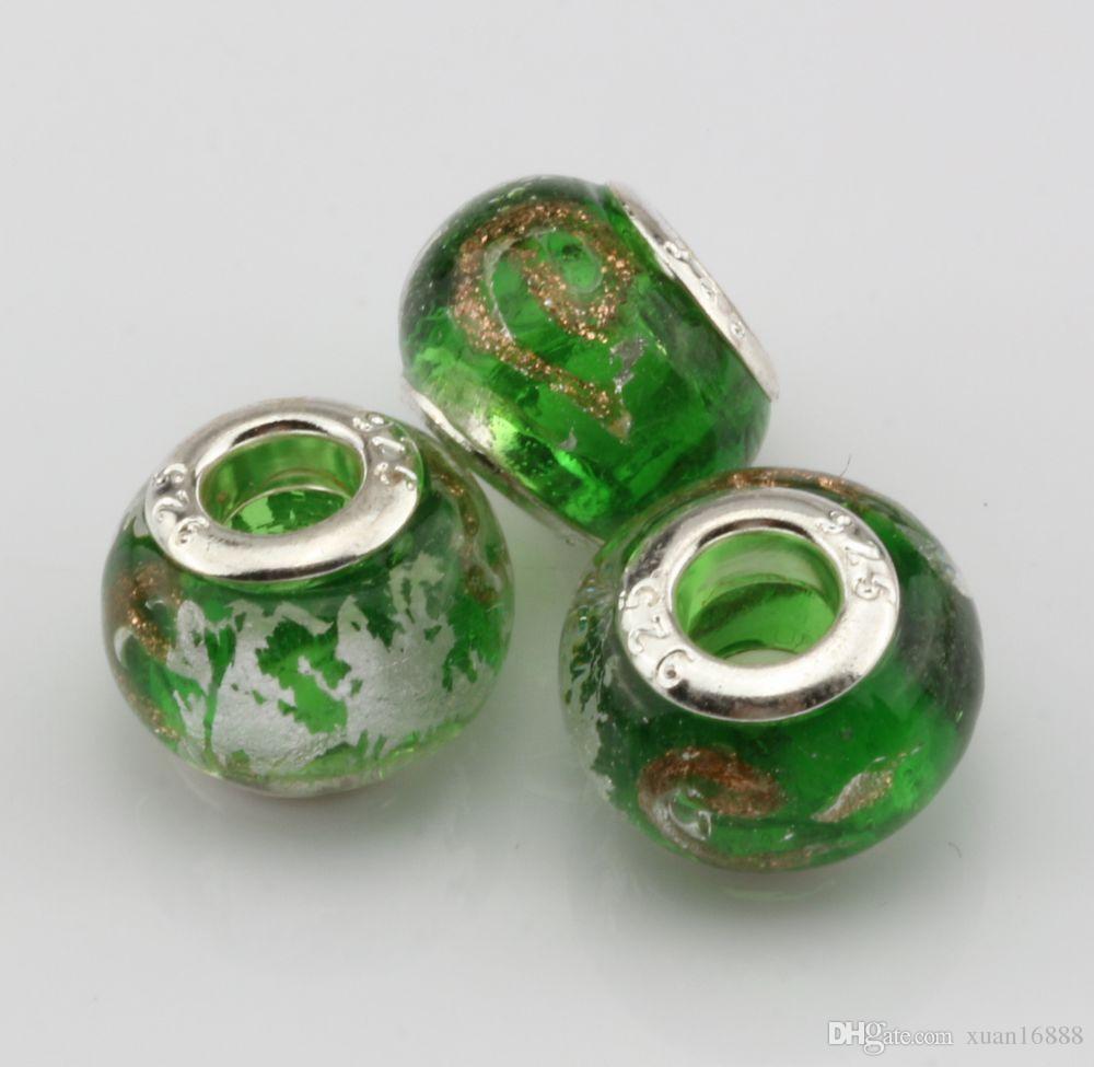 "MIC 50pcs Green Gold Silver Foil Alphabet ""e"" lampwork Glass Large Hole Beads Fit Beaded Bracelet"