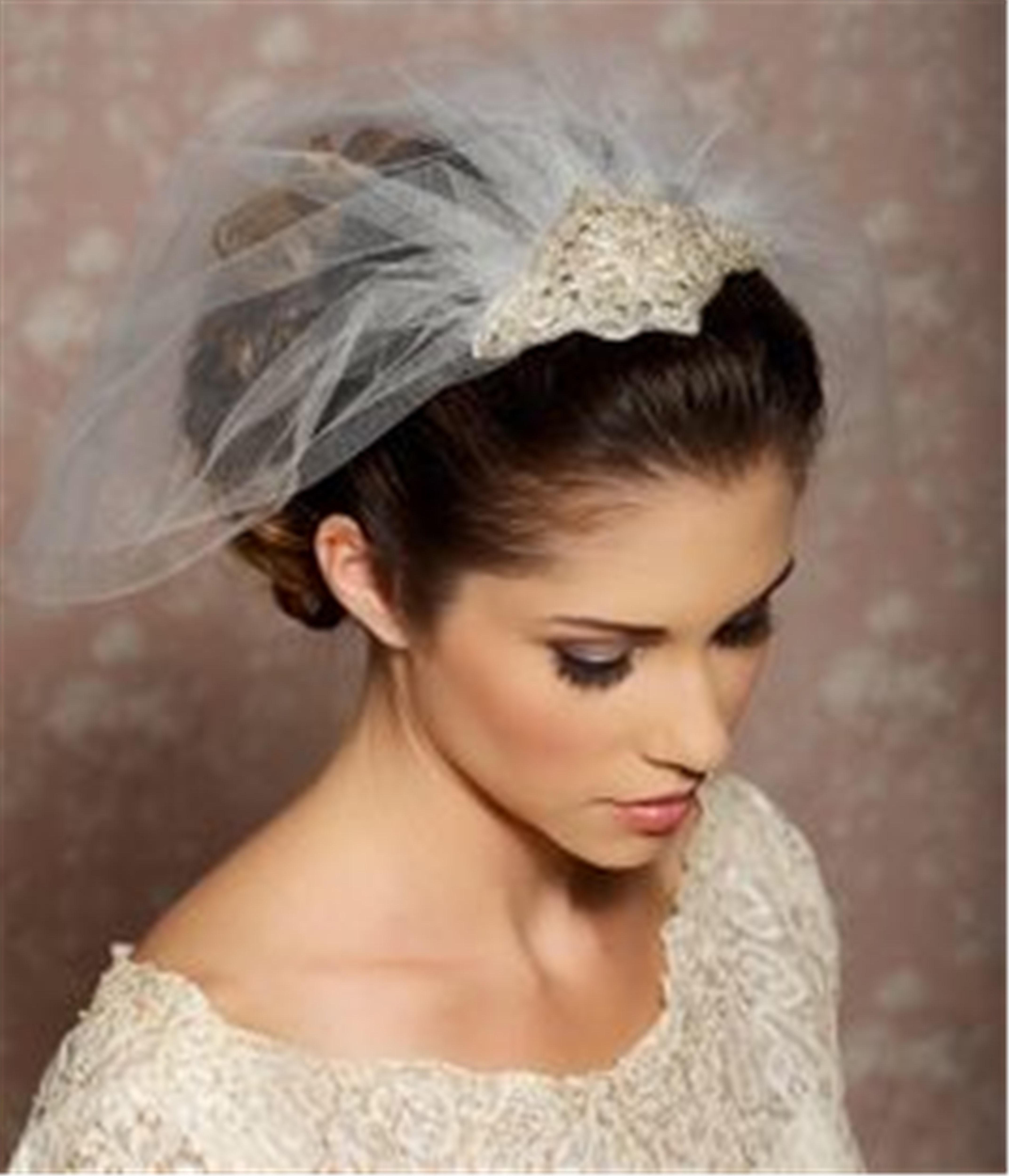 Custom Made White Ivory Bridal Veils Birdcage Wedding