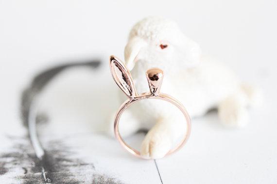 Mode niedlichen tier anpassen herr der ring 18 karat vergoldet schmuck cool bunny kaninchen ohrknöchel stapeln ring für kinder