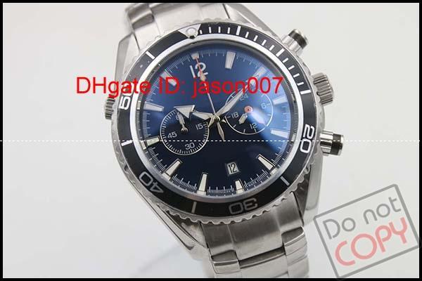 Sıcak Satış Erkek İzle Gezegen Okyanus Co-Axial James007 Jason007 Paslanmaz Çelik Kuvars Hareketi Chronograph Siyah erkek Saatler