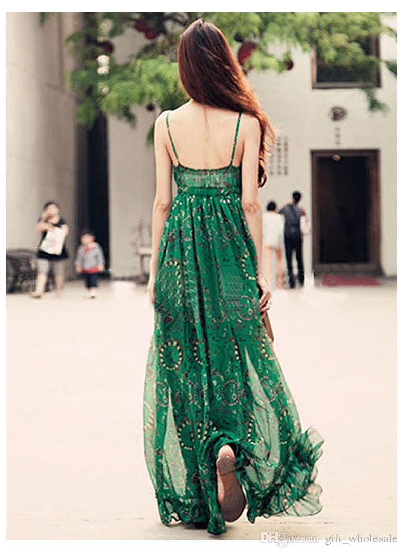 kid buy good promo codes Fashion Women Ladies Casual Bohemia Beach Chiffon Floral Maxi Long Dresses  Green Print Spaghetti Strap Sleeveless Backless V Neck Summer Cheap Prom ...