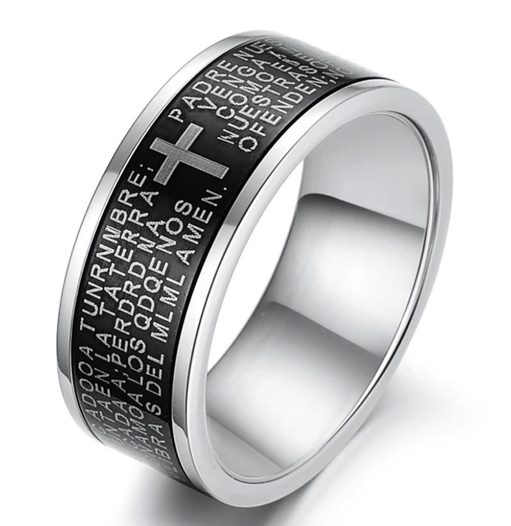 Mens 8.5mm Titanium Stainless Steel Vintage Black Ring Spanish Bible Lords Prayer High Polish Cross Band